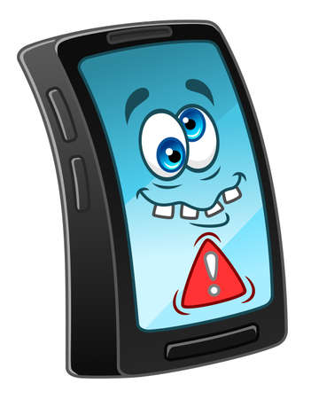 Cartoon crazy mobile phone. Иллюстрация