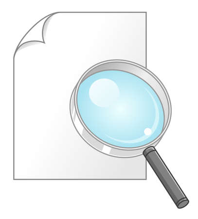 Magnifying glass and blank paper icon.