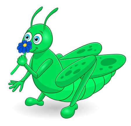 Cartoon cute grasshopper Illusztráció