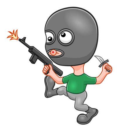 Cartoon funny terrorist Illustration