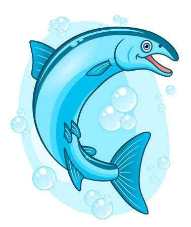 coho: Cartoon happy coho salmon.