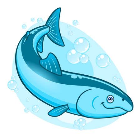 coho: Cartoon cute salmon Illustration