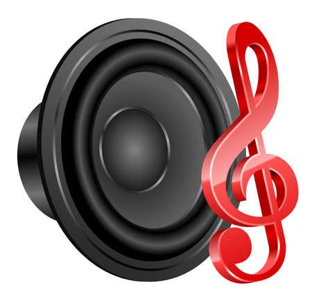 Loudspeaker and treble clef