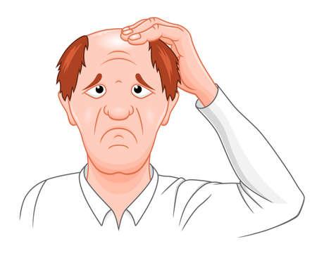 Cartoon man with baldness Illustration