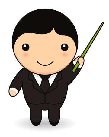 Cartoon businessman with pointer stick
