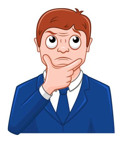 Cartoon businessman thinking Illustration
