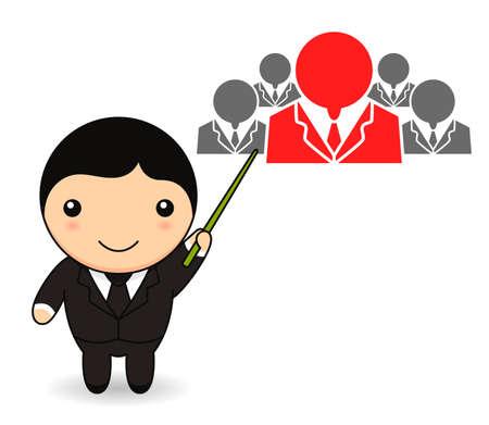 Cartoon businessman with human resources