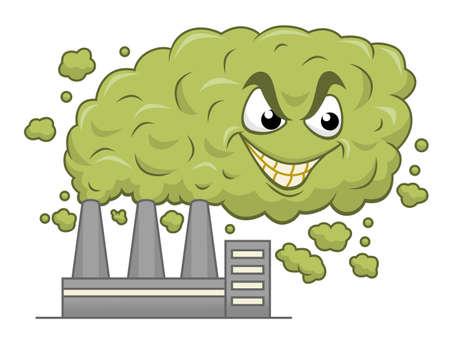 Cartoon smog from factory grinning Vettoriali