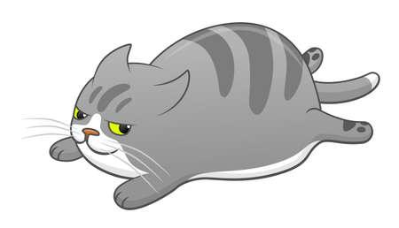 Cartoon cute lying cat