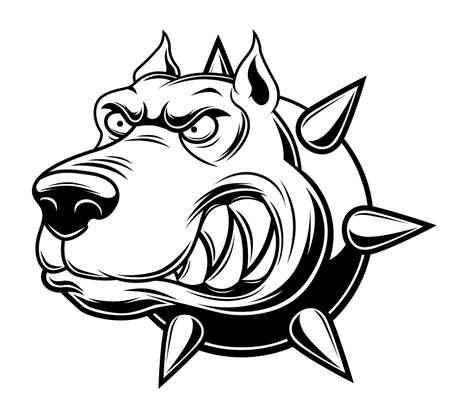 Monochrome angry dog ??illustration