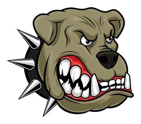 Angry bulldog with collar Çizim