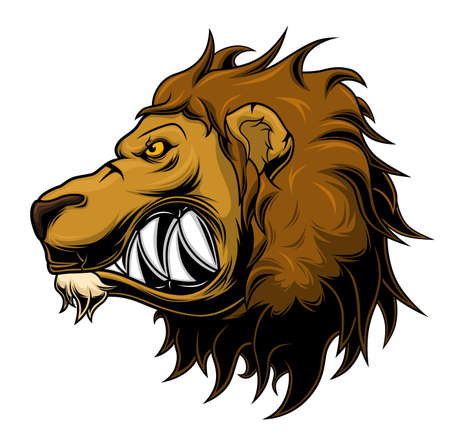 Stylized anger lion head