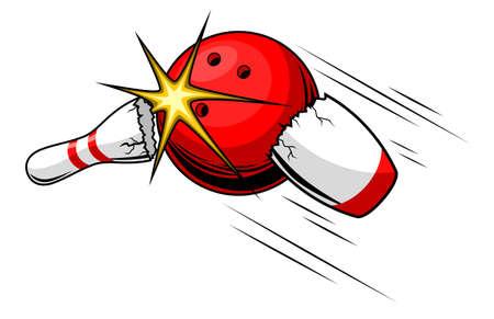 Bowling ball split bowling pin