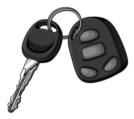 Car key and alarm key fob isolated on white background