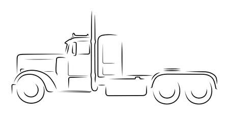 Semi truck monochrome silhouette on white background