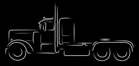 Semi truck silhouette on black background Stock Vector - 116697744