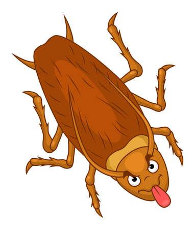 Cartoon funny cockroach show tongue