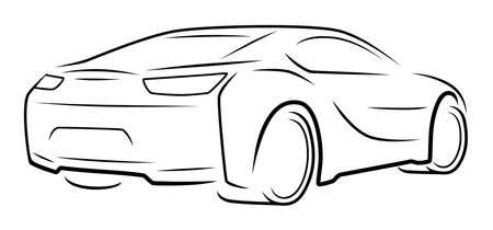 Sport car back side view silhouette on white background Vektorové ilustrace