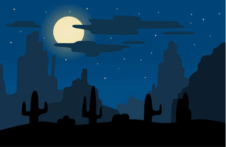 Night in american desert. Vector background  イラスト・ベクター素材