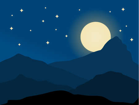 Night in mountain. Vector background