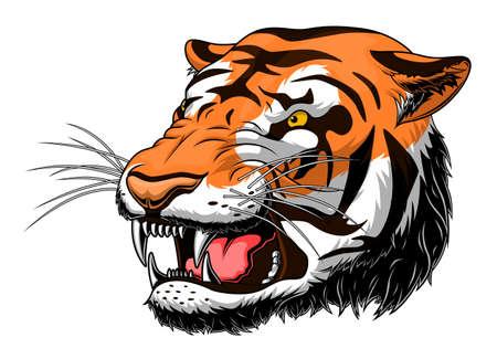Tête de tigre rugissante stylisée