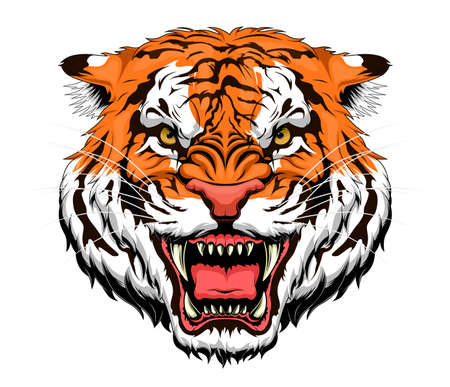Stylized anger tiger head