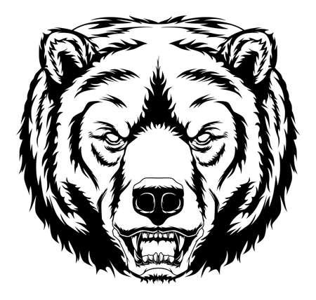 Monochrome anger bear head