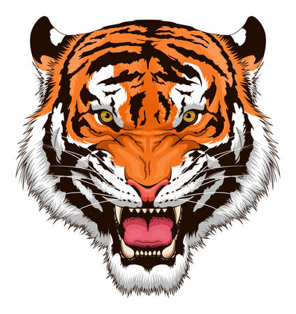 Stylized roaring tiger head