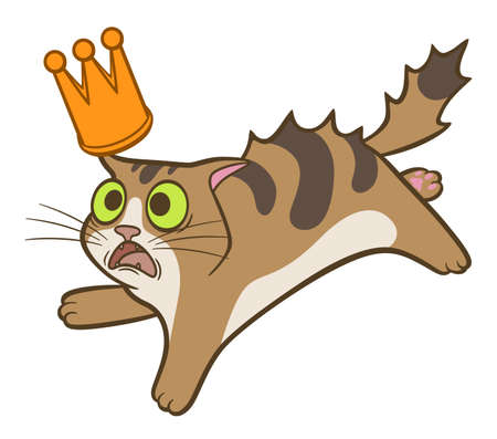 Cartoon cute frightened cat with crown