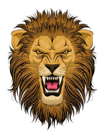 Cabeza de león rugiente estilizada