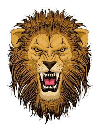 Stylized roaring lion head Иллюстрация