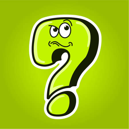 Cartoon funny question mark on background