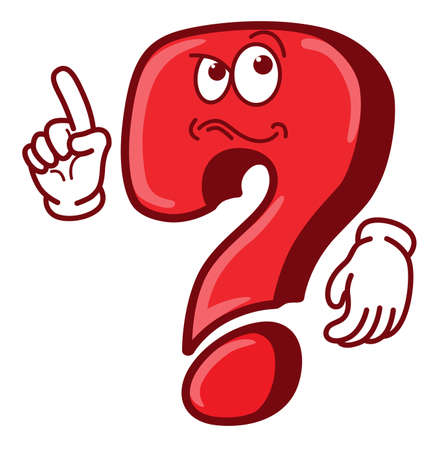 Cartoon funny question mark with finger up Ilustracja