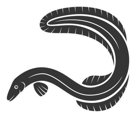 Nice monochrome eel fish Ilustrace