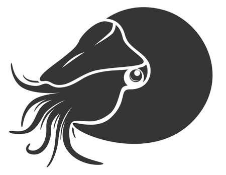 Beautiful monochrome nautilus mollusk Ilustração