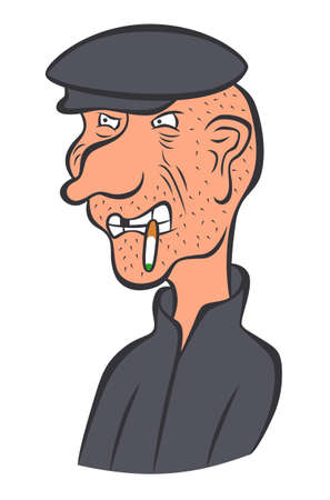 Cartoon anger man with cigarette and flat cap Illustration