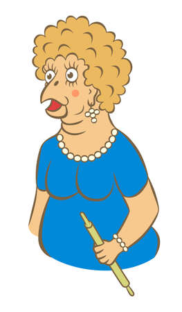 Cartoon stupid woman with chiken face and rolling pin in hand