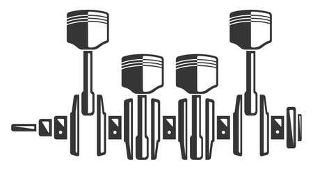 Monochrome crankshaft and four motor piston, part of car engine Ilustracja