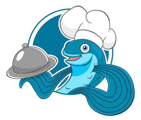 Cartoon flying fish chef in circle