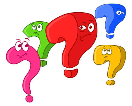 Group of five funny cartoon question marks