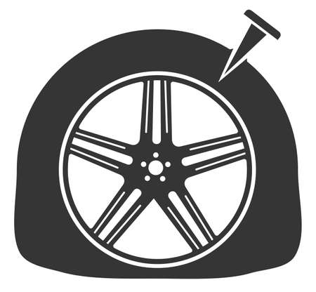 Monochrome tire puncture icon. Flat tire icon Vectores