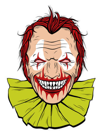 Scary clown with sharp teeth and red hair Illustration