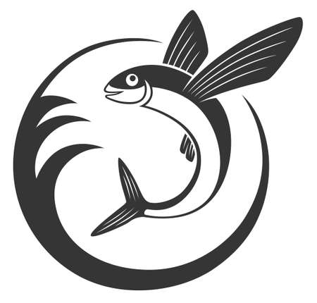 Flying fish icon in circle with wave