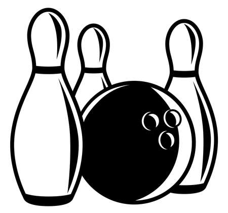 Monochrome bowling ball with pins around Ilustracja