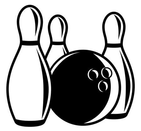Monochrome bowling ball with pins around Zdjęcie Seryjne - 127958316