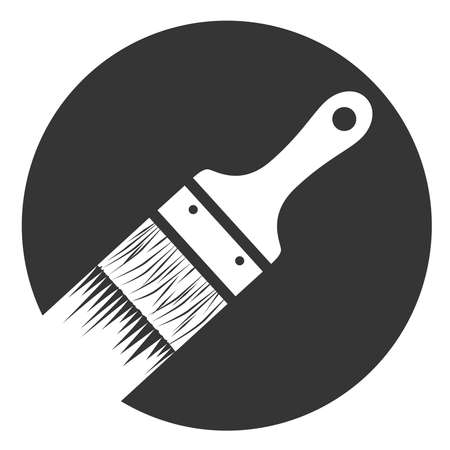 Monochrome paint brush icon in circle
