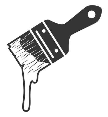 Monochrome paint brush with paint drop