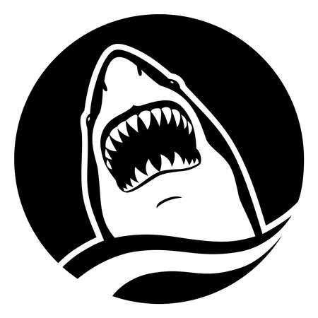 Shark with scary teeth in wave in circle Zdjęcie Seryjne - 127958327