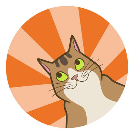Cartoon cute cat in circle with rays Иллюстрация