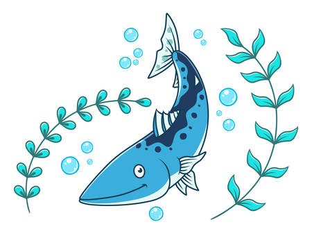 Cartoon barracuda and seaweed with air bubbles